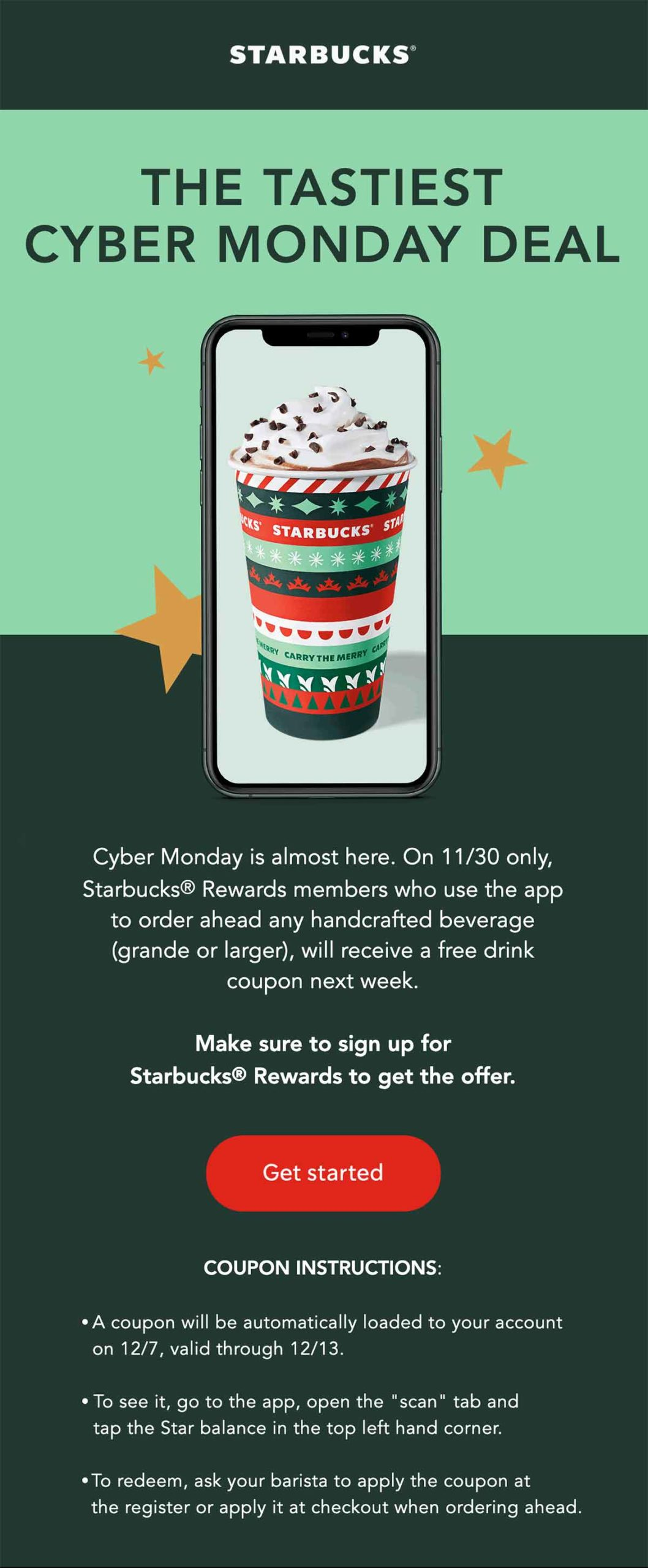 Starbucks Cyber Monday Email