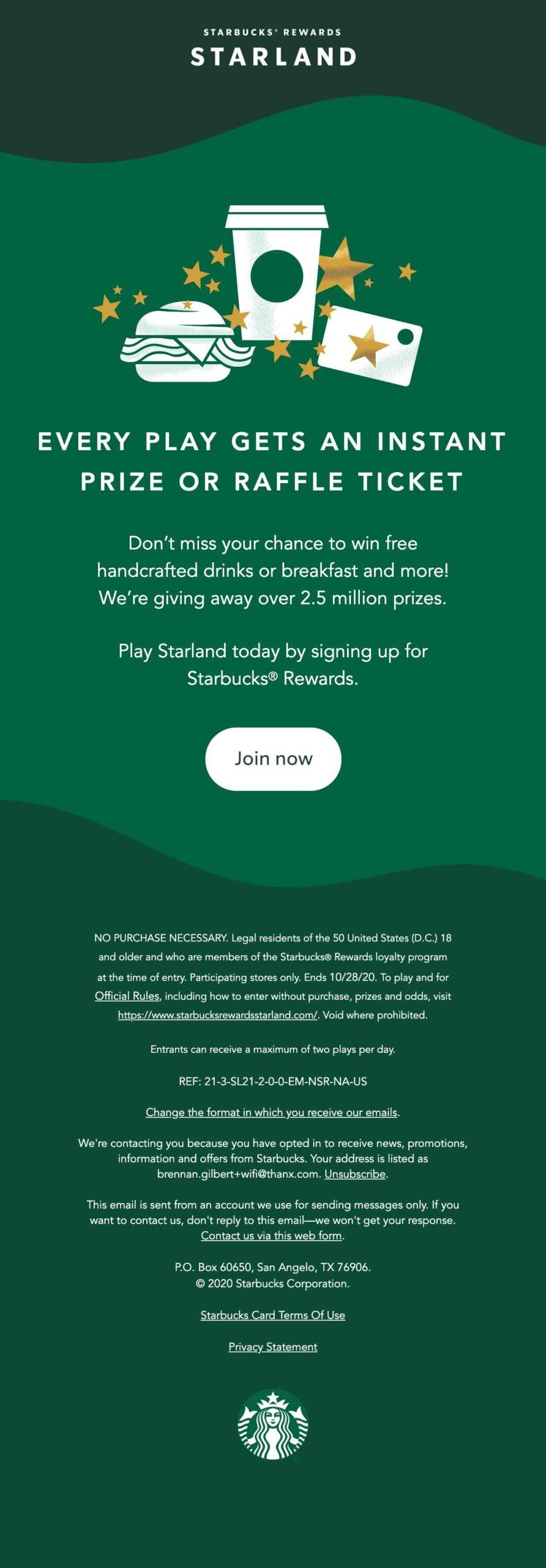 Starbucks Starland email #1