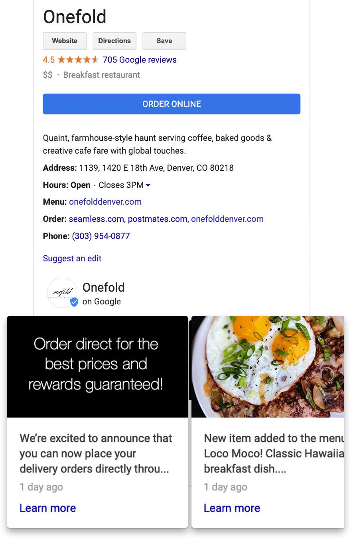 Google business posts for restaurants advertising direct online ordering
