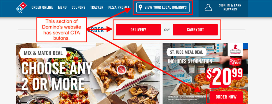 CTA button examples from Domino's website
