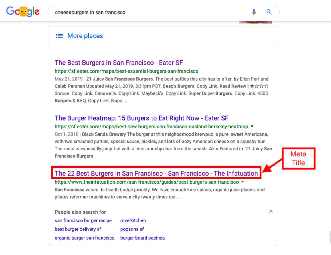 Meta title example in Google