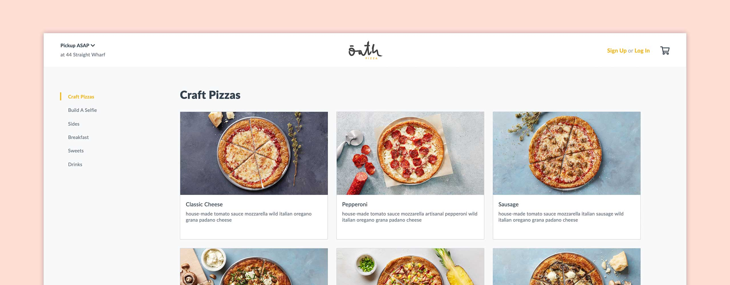Oath web ordering experience