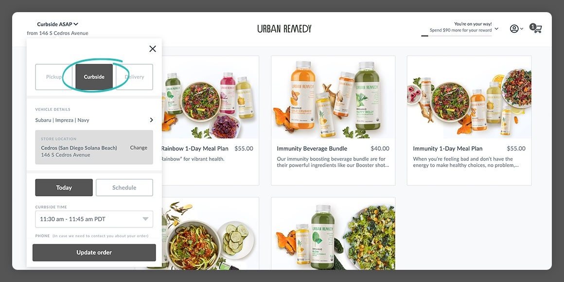 Urban Remedy web ordering experience highlighting Curbside pickup via Thanx