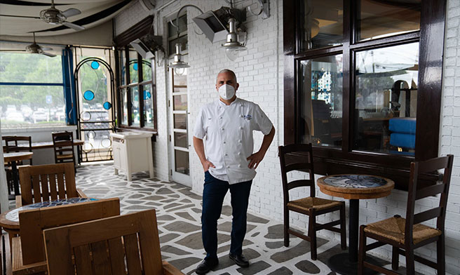 The chef Pano Karatassos at Kyma, one of the places in Atlanta the Buckhead Life Restaurant Group is planning to reopen soon.Credit...Kevin D. Liles for The New York Times