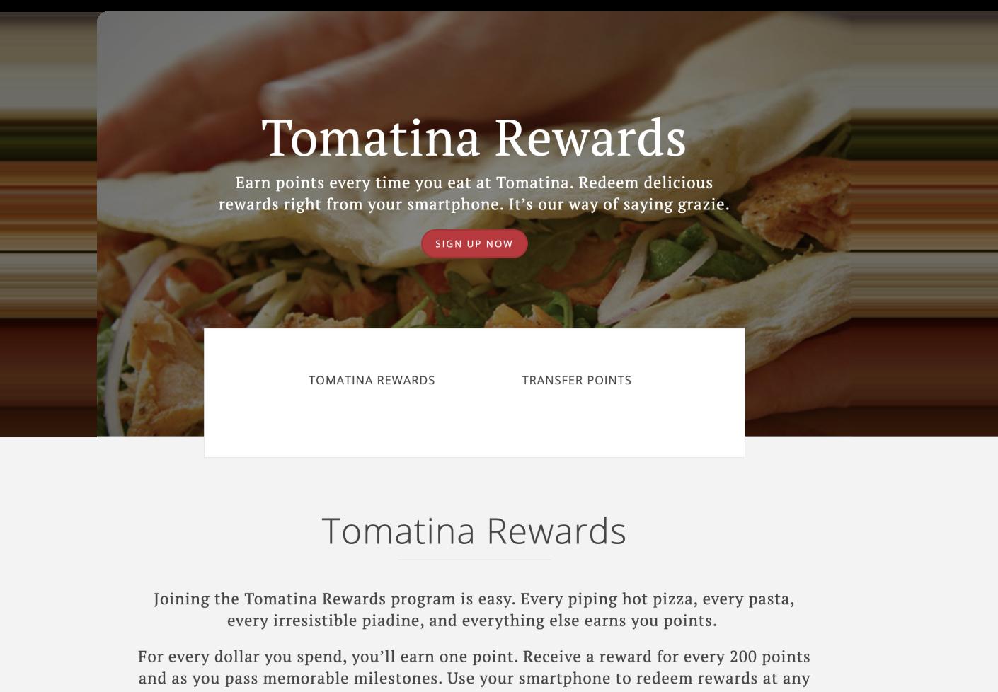 Tomatina loyalty program sign up page screenshot