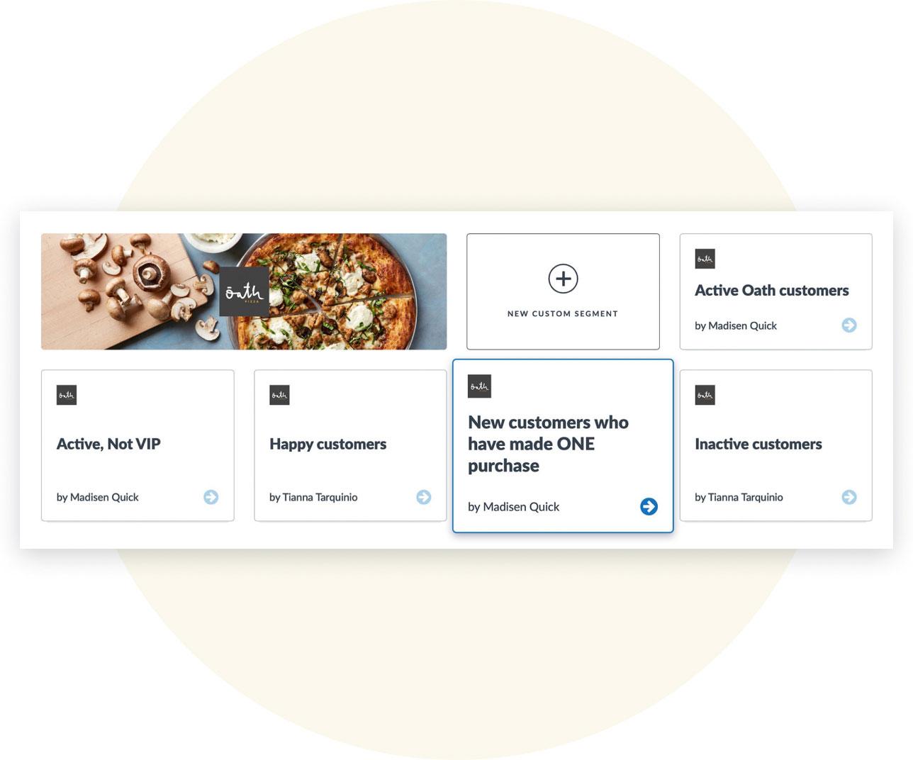 UI of custom segments inside Thanx dashboard for Oath Pizza