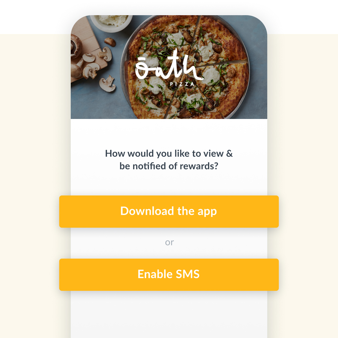 UI to set communication preferences in a Thanx app