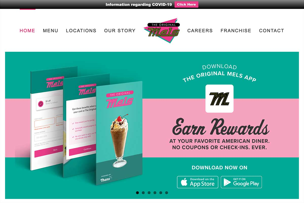 The Original Mels: Homepage App Banner