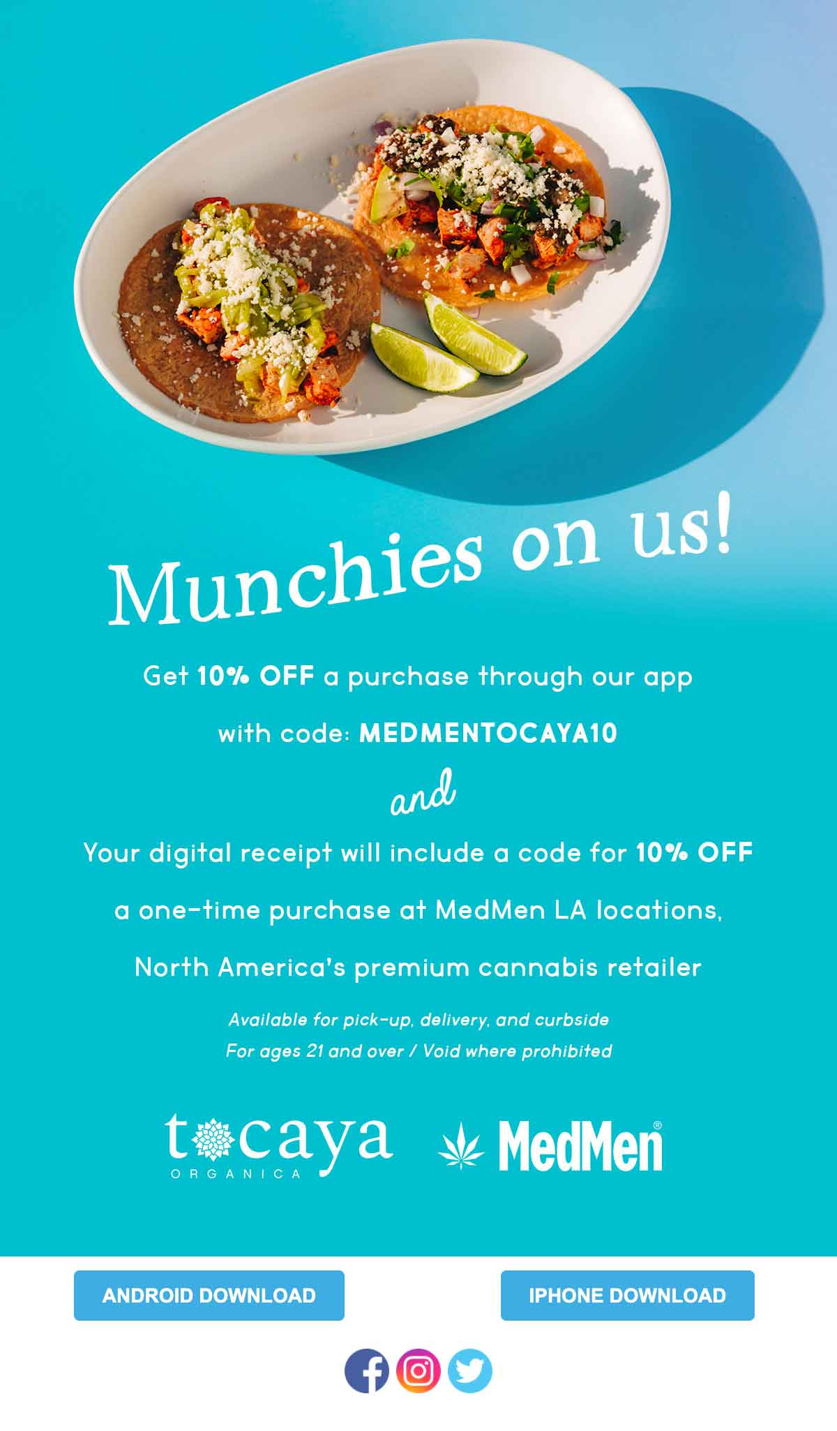 Tocaya: Munchies On Us Email