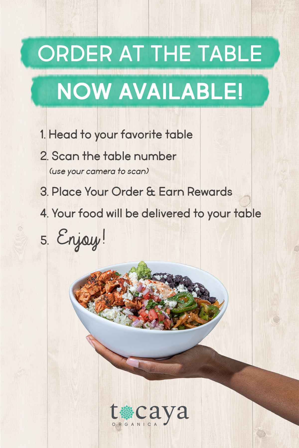 Tocaya Organica Tableside Email