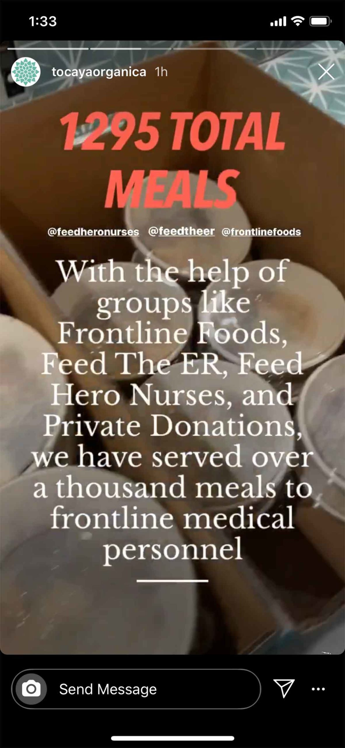 Tocaya: Feed the Frontlines Instagram Story