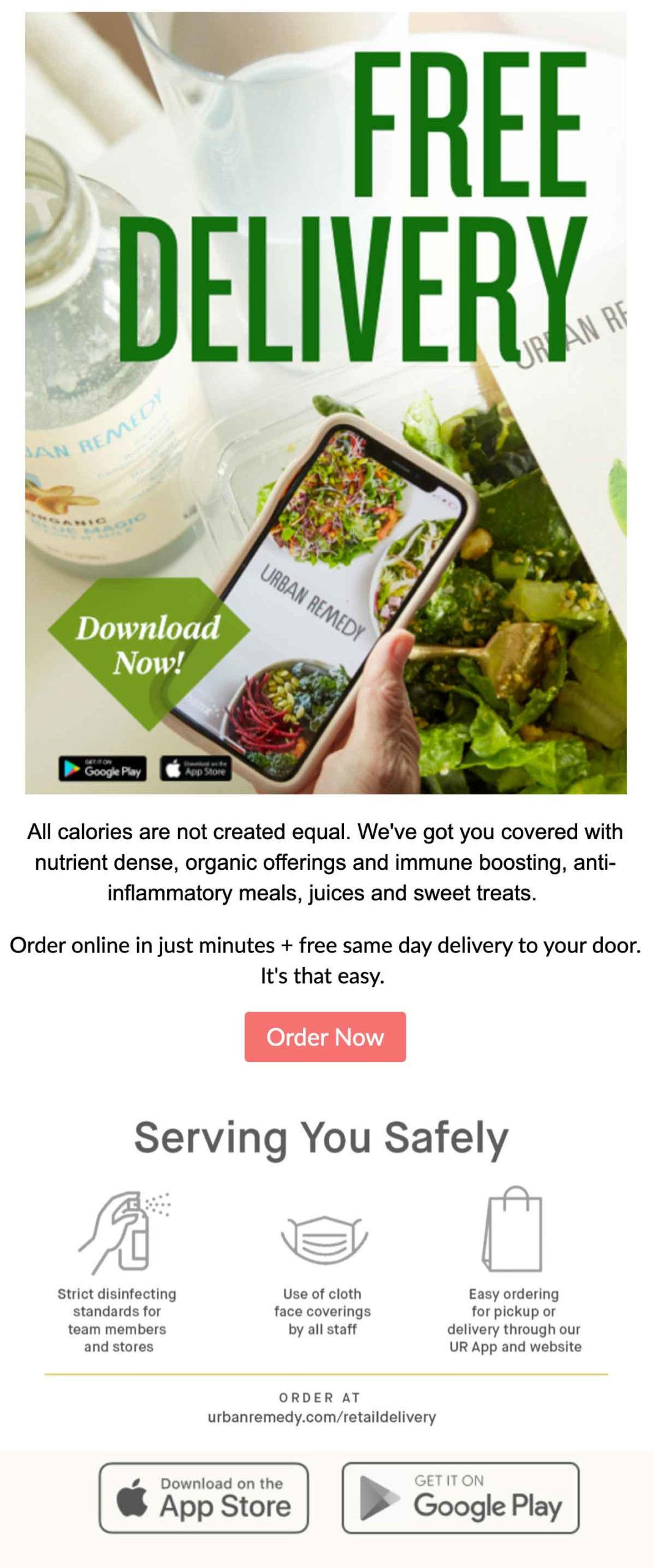 Urban Remedy: Free Delivery Email