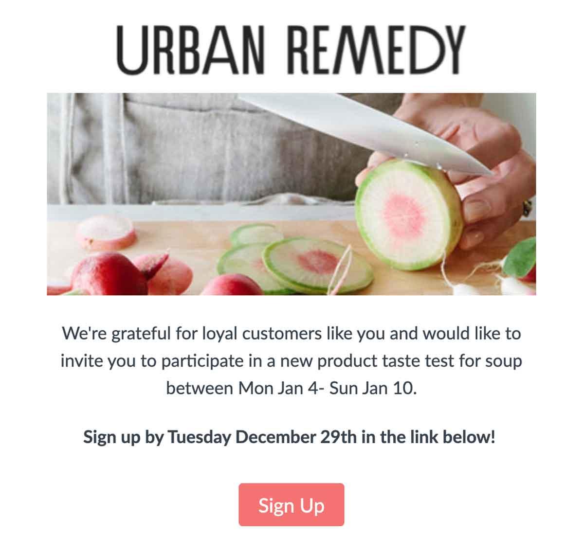 Urban Remedy taste test email