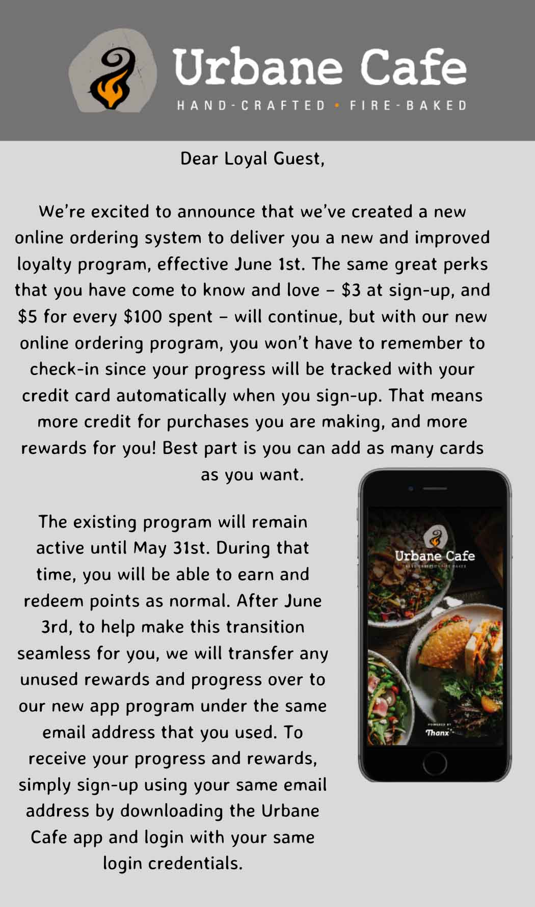Urbane Cafe: Loyalty Transition Email