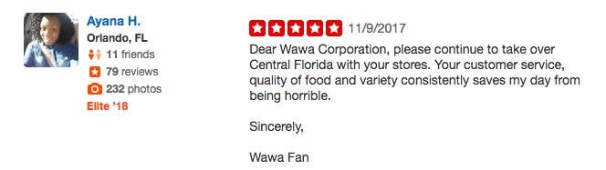 Wawa customer reveiw