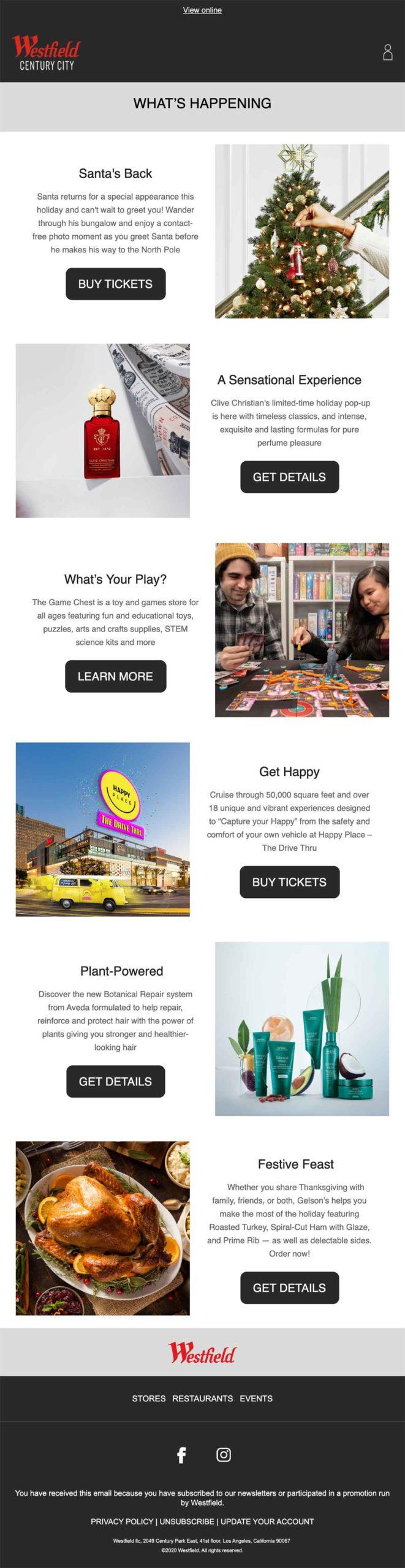 Westfield Malls Holiday 2020 Newsletter