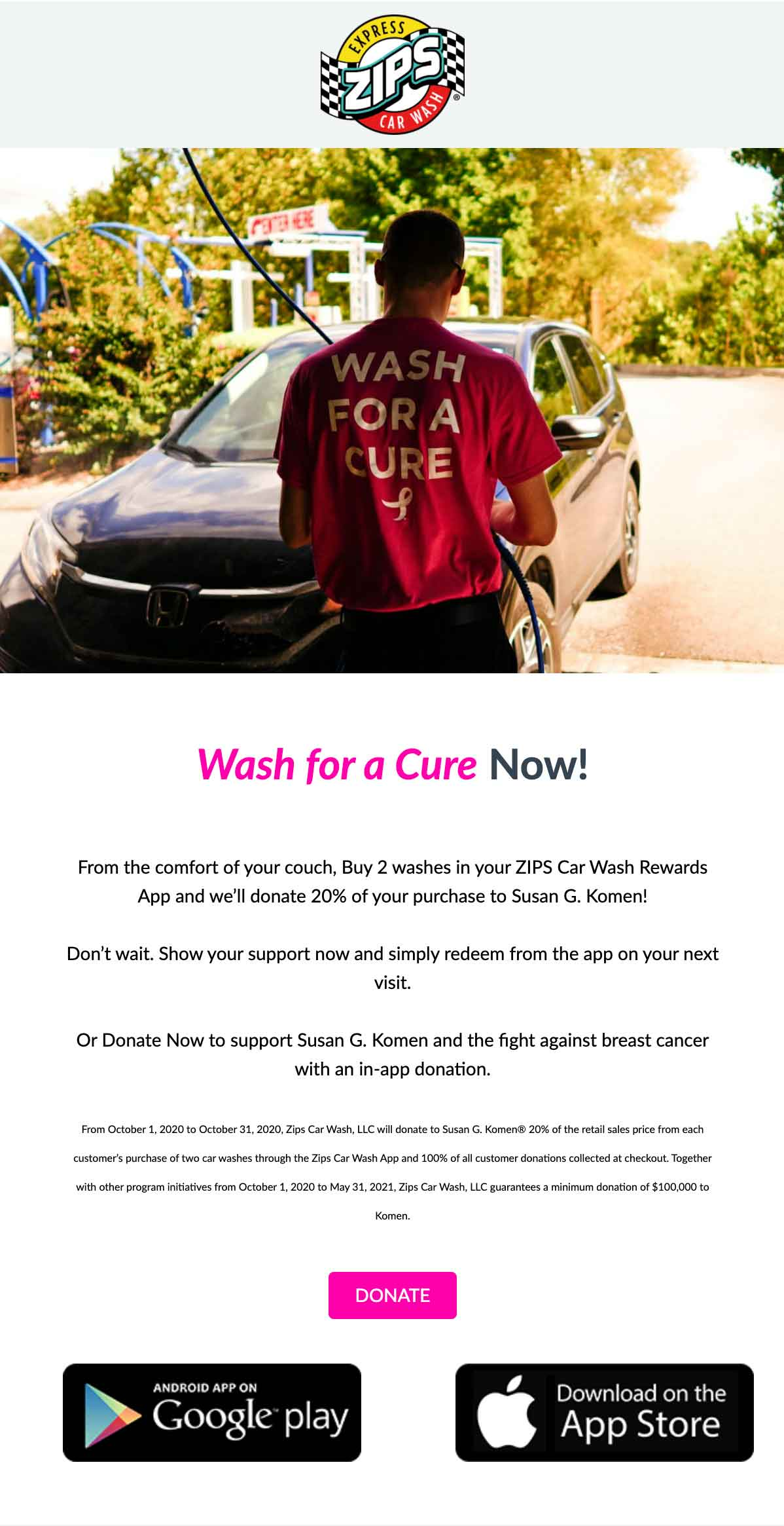 Zips Car Wash, wash for a cure email
