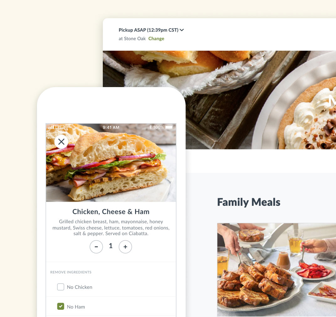 Screenshots of the Kneaders ordering experience by Thanx on mobile and desktop