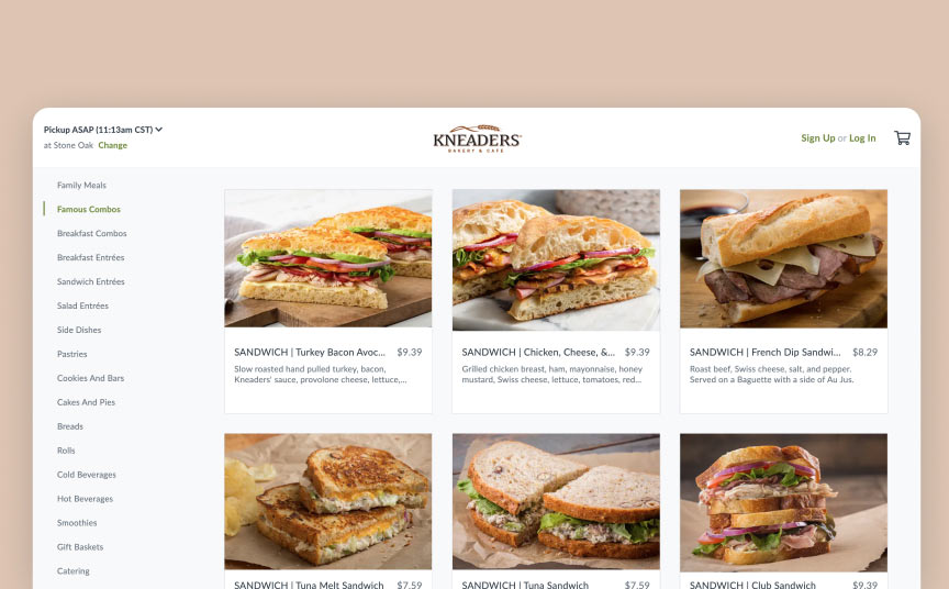 Kneaders online ordering experience by Thanx