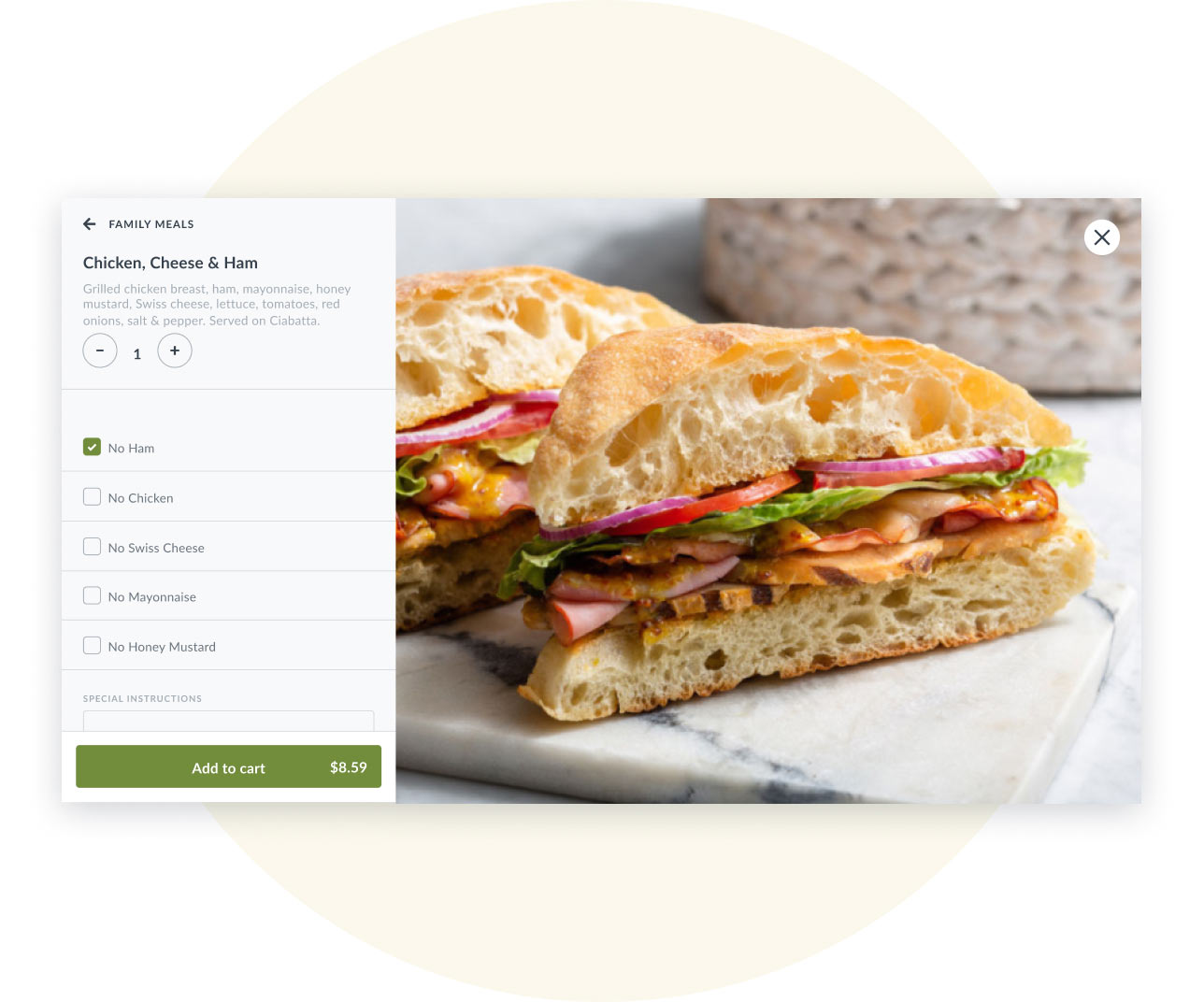 UI of a pop up modal in the Thanx desktop ordering experience