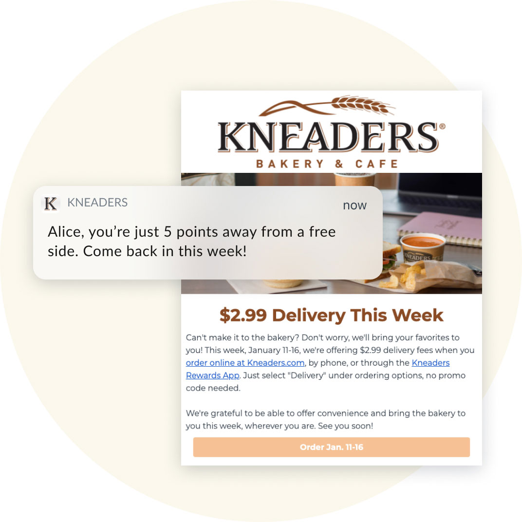 Kneaders email and personalized phone notification