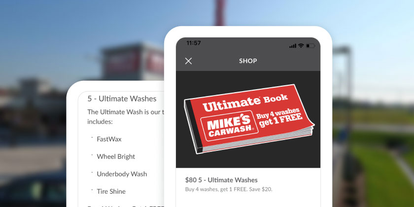 Screenshots of Mike's Carwash mobile app UI