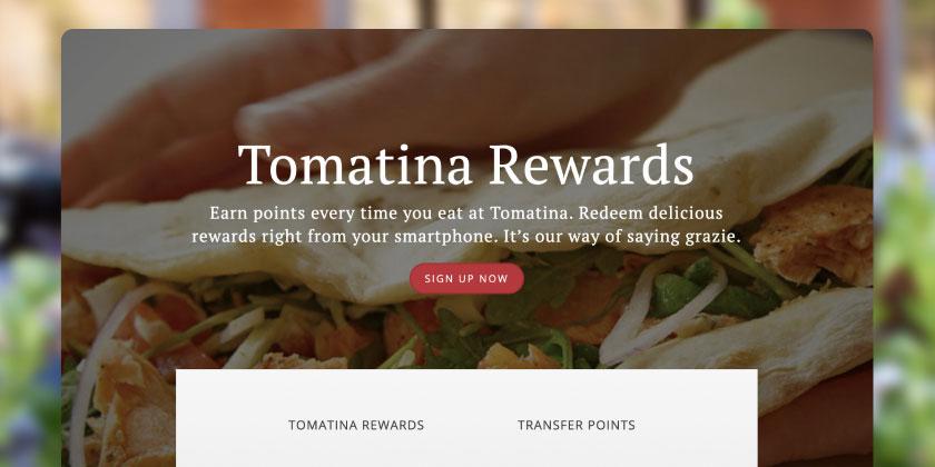 Screenshot of webpage for Tomatina loyalty program