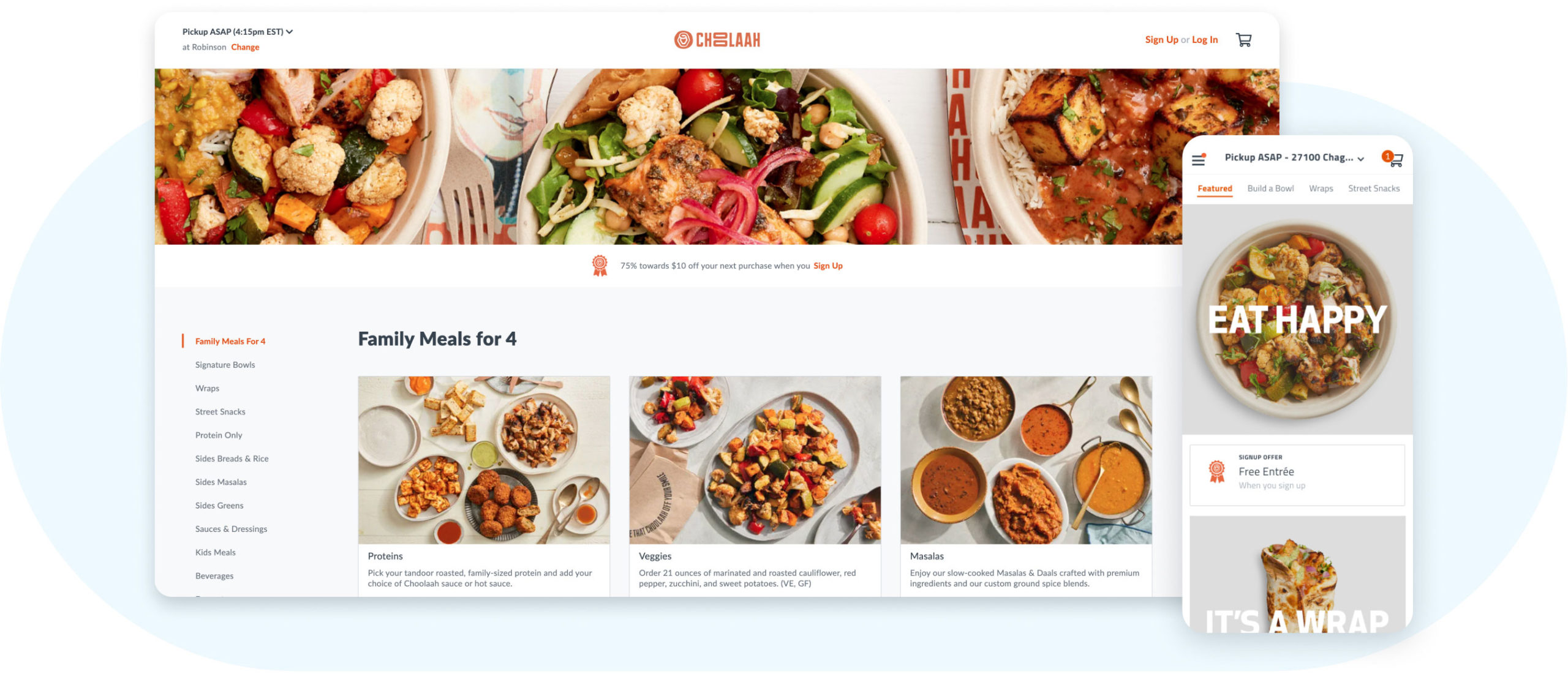 Choolaah web and mobile ordering experiences powered by Thanx