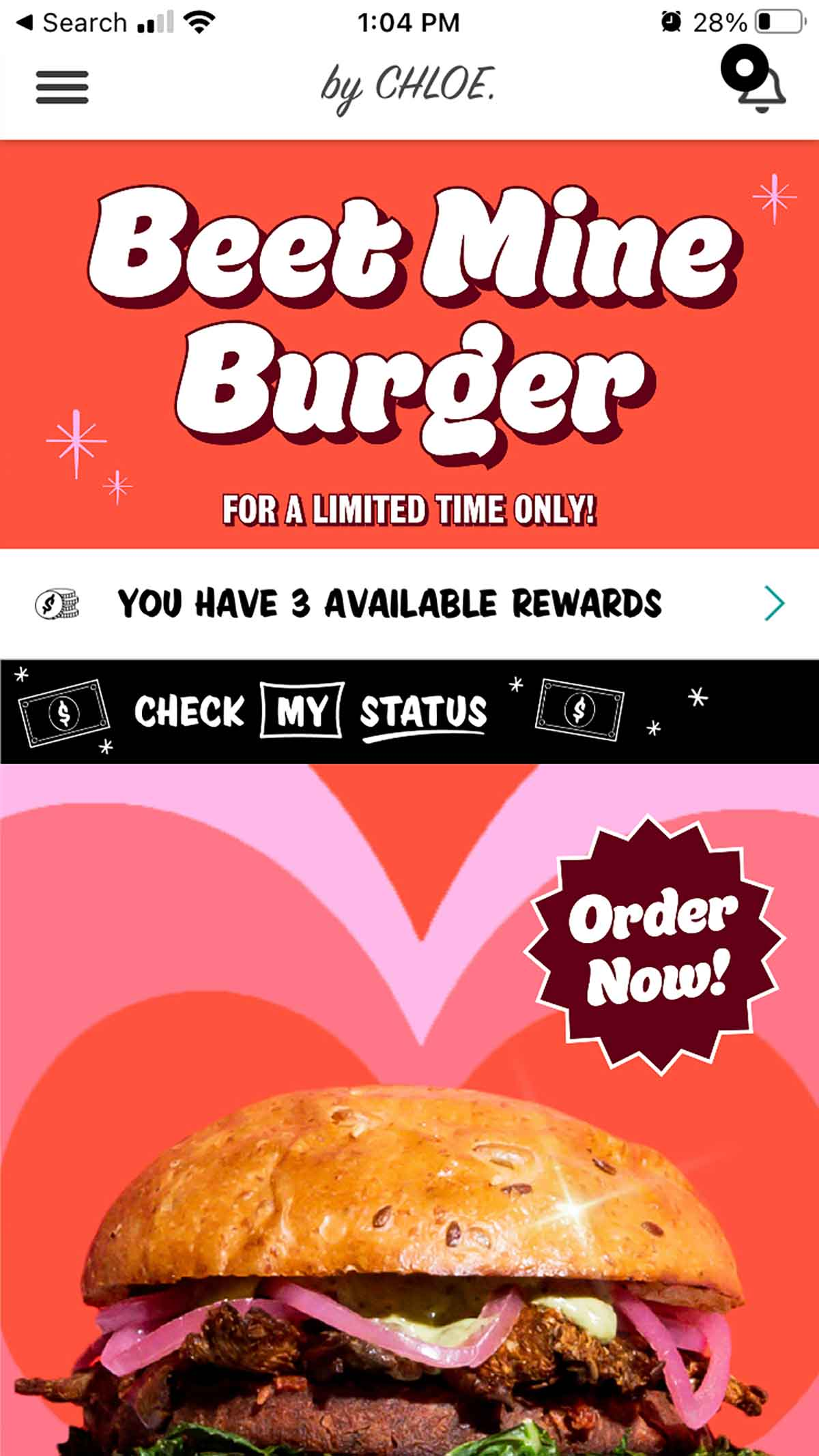 """by CHLOE. mobile app showing Valentine's 2021 promotion """"Beet Mine Burger"""""""