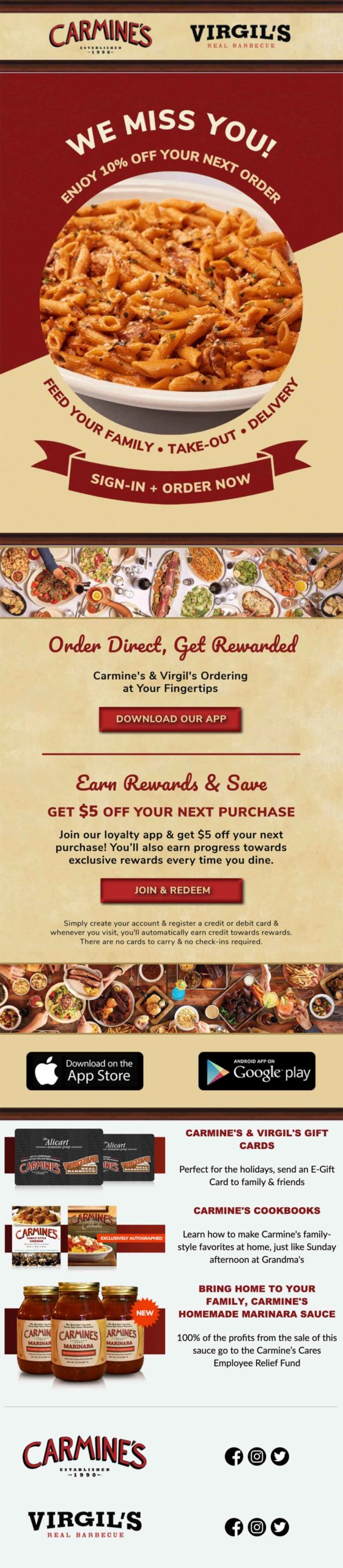 """Carmine's & Virgil's promotional email, """"We Miss You!"""""""