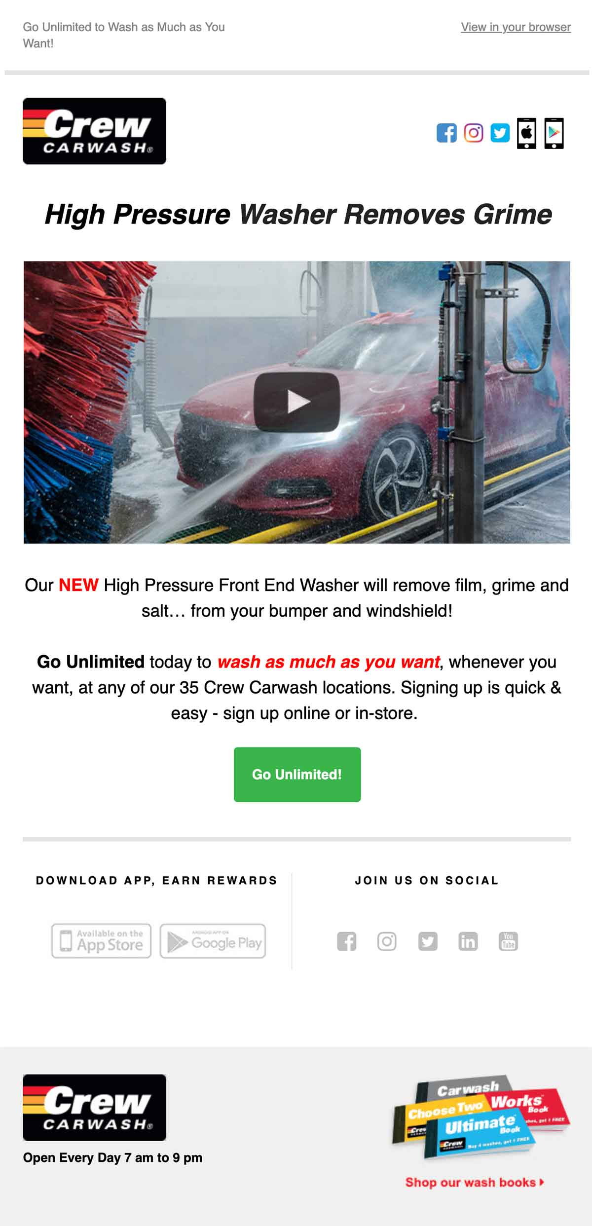 Crew Carwash email advertising their high pressure washer