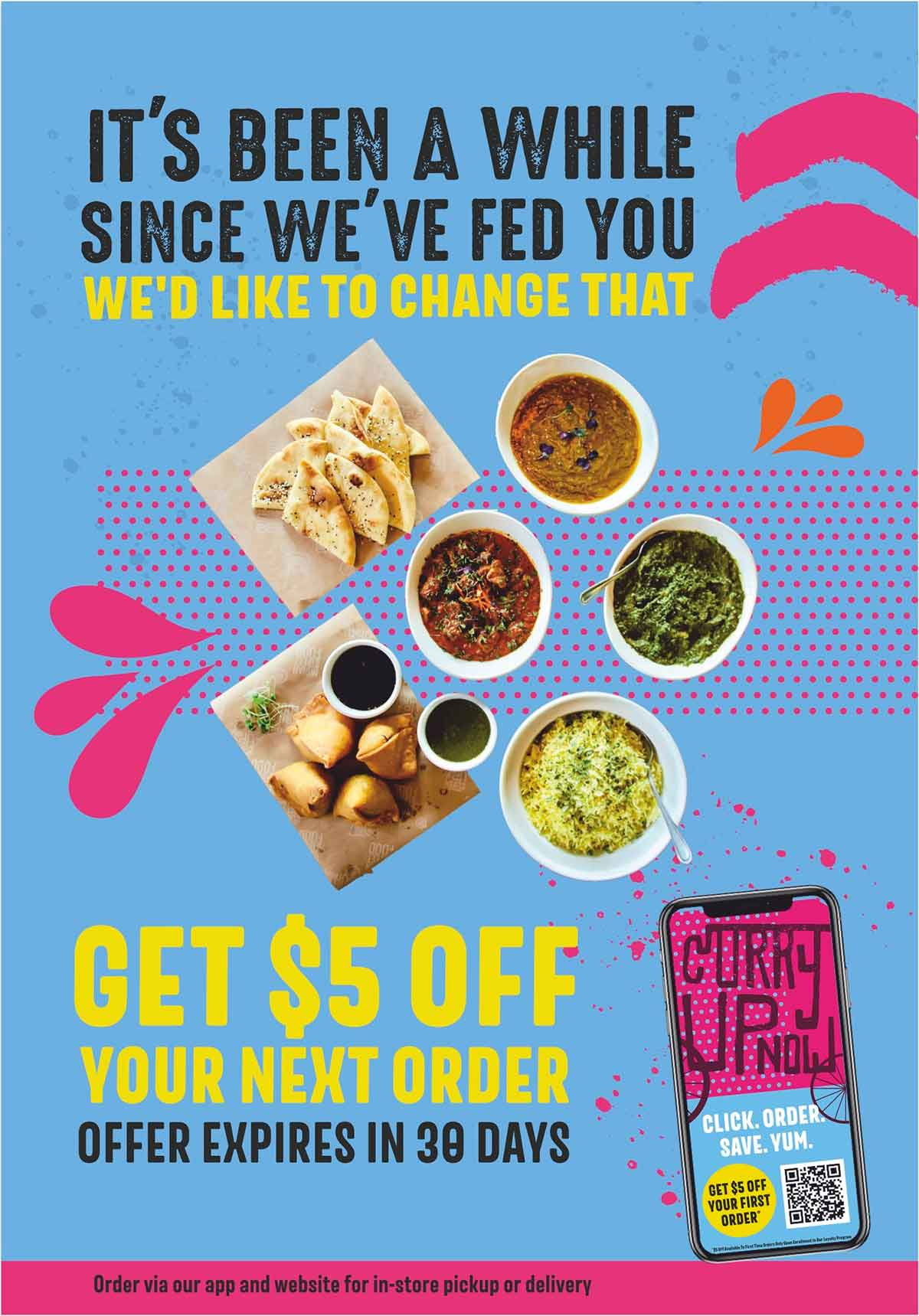 Curry Up Now email promoting $5 incentive for return guests