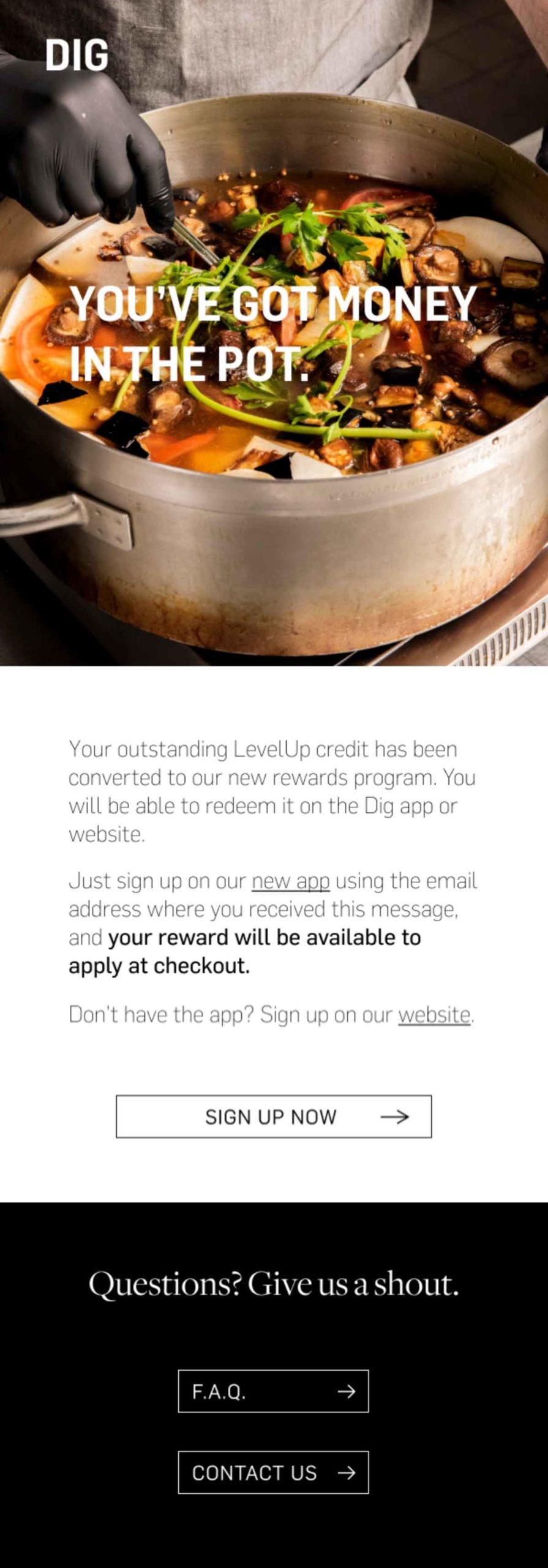 """DIG """"you've got money in the pot"""" email"""