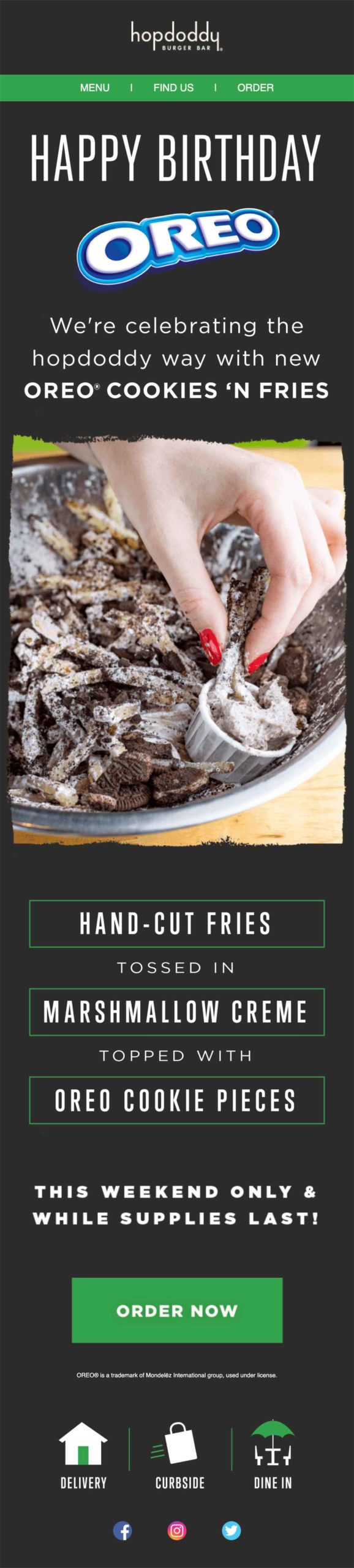 Hopdoddy Burger Bar email for birthdays with Oreo fries