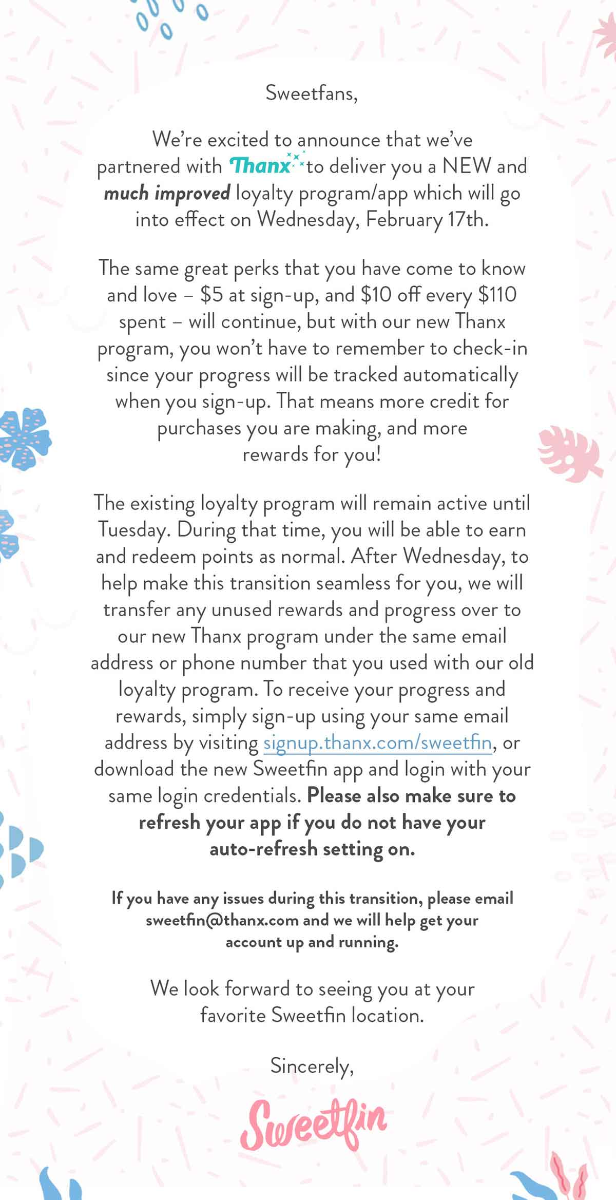 Sweetfin loyalty program transition email