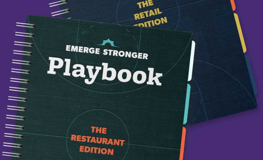 Thanx Emerge Stronger playbook mockups with purple background